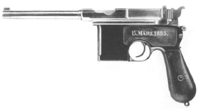 A Mauser C96 pistol similar to the one used to kill George Lincoln Rockwell in 1967.